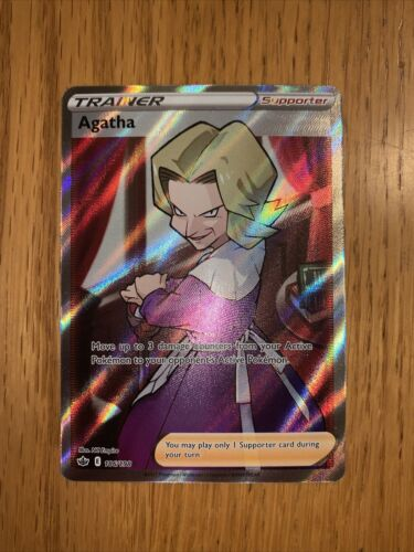 Pokemon Agatha 186/198 Full Art Ultra Rare Chilling Reign NEW IN-HAND
