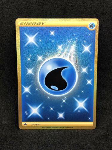 Pokemon Chilling Reign Secret Rare Water Energy 231/198 Gold Card