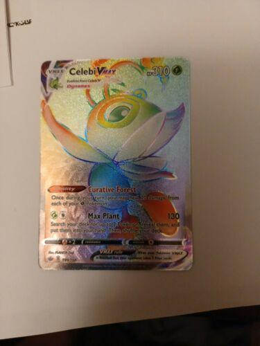 Pokemon Chilling Reign Celebi VMAX Rainbow Secret Rare 199/198