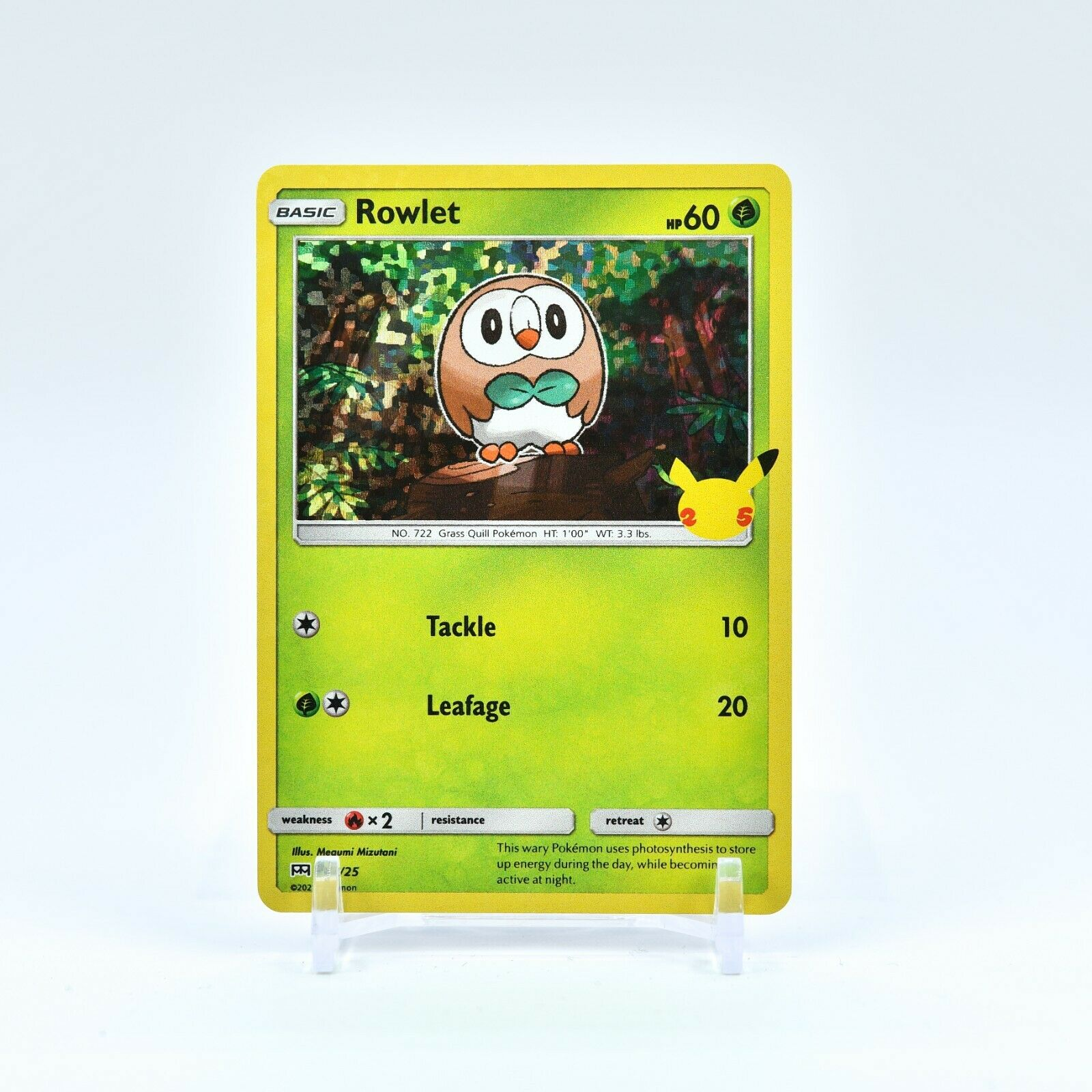 Rowlet - 7/25 Mcdonald's 25th Anniversary Holo Starter Pokemon - NM/MINT