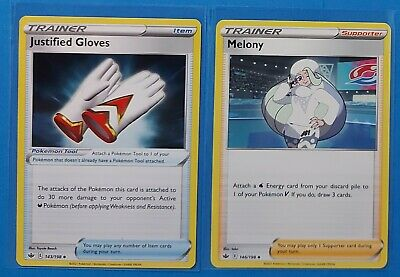 Justified Gloves 143/198, Melony 146/198 Pokemon card Chilling Reign uncommon NM