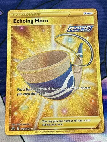 Pokemon Trainer Echoing Horn 225/198 Gold Secret Rare Chilling Reign MINT
