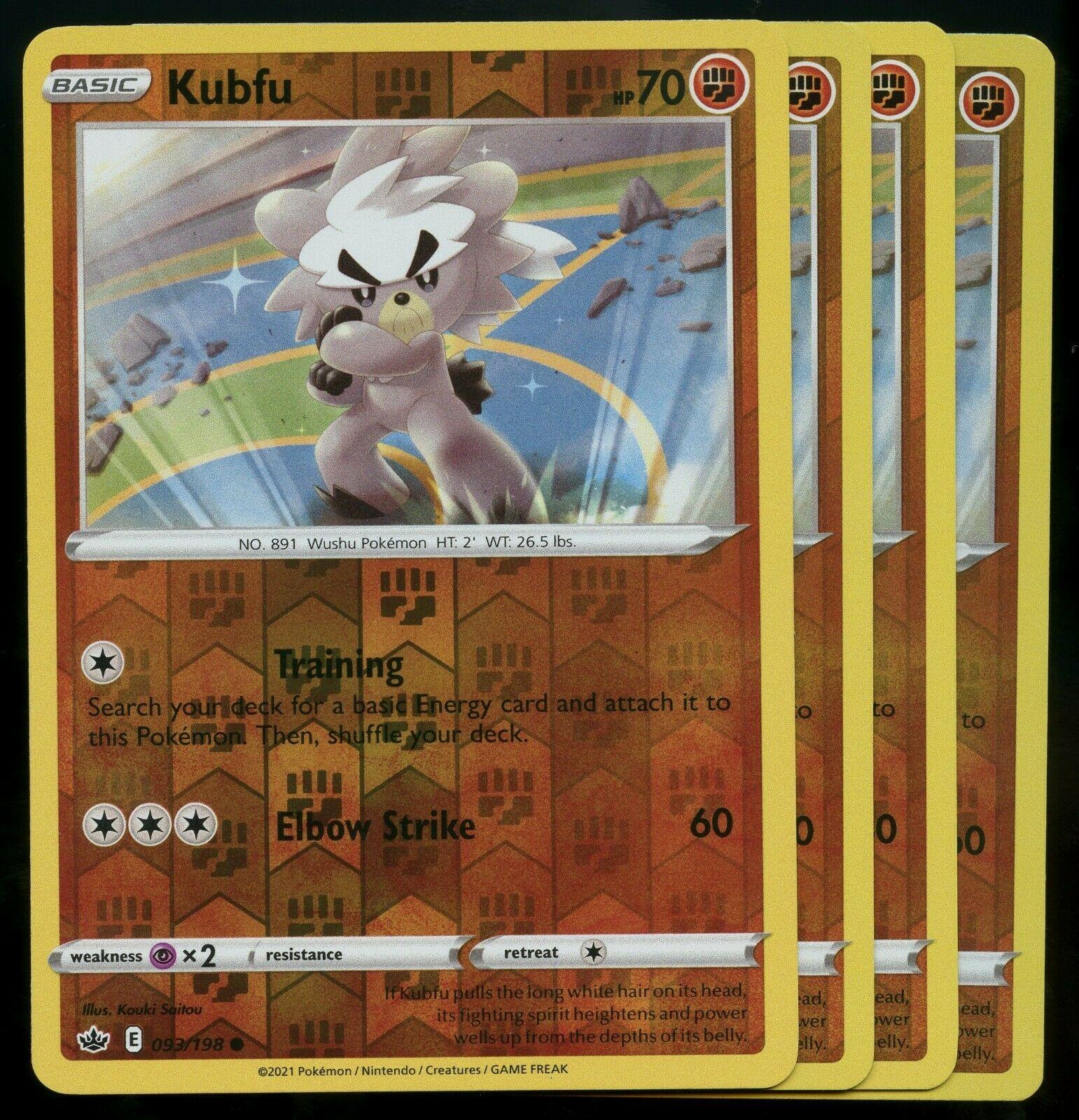 Pokemon Cards x4 Kubfu 093/198 Reverse Holo Chilling Reign Playset LP