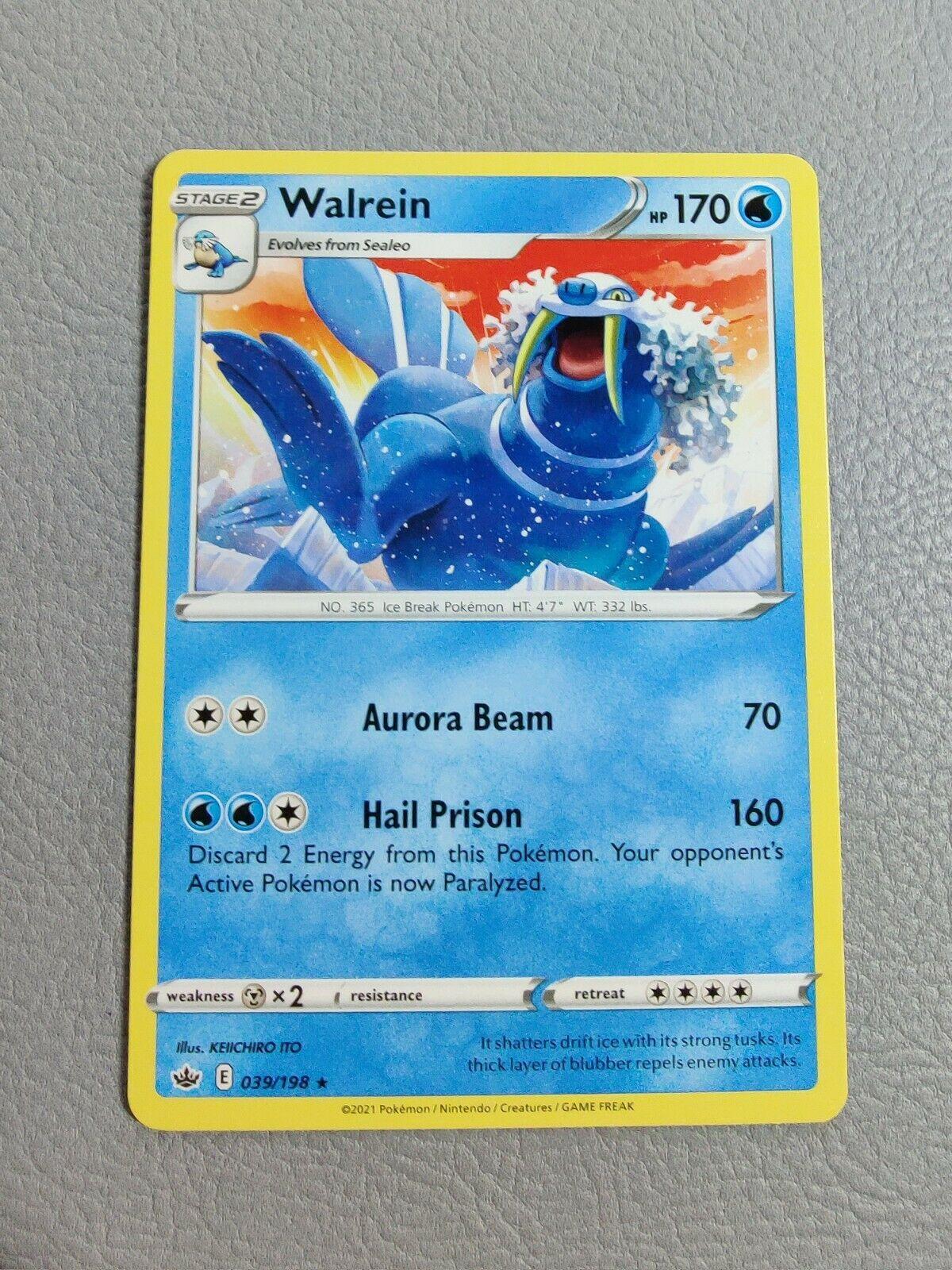 Walrein   MINT   Chilling Reign 039/198   Rare   Pokemon
