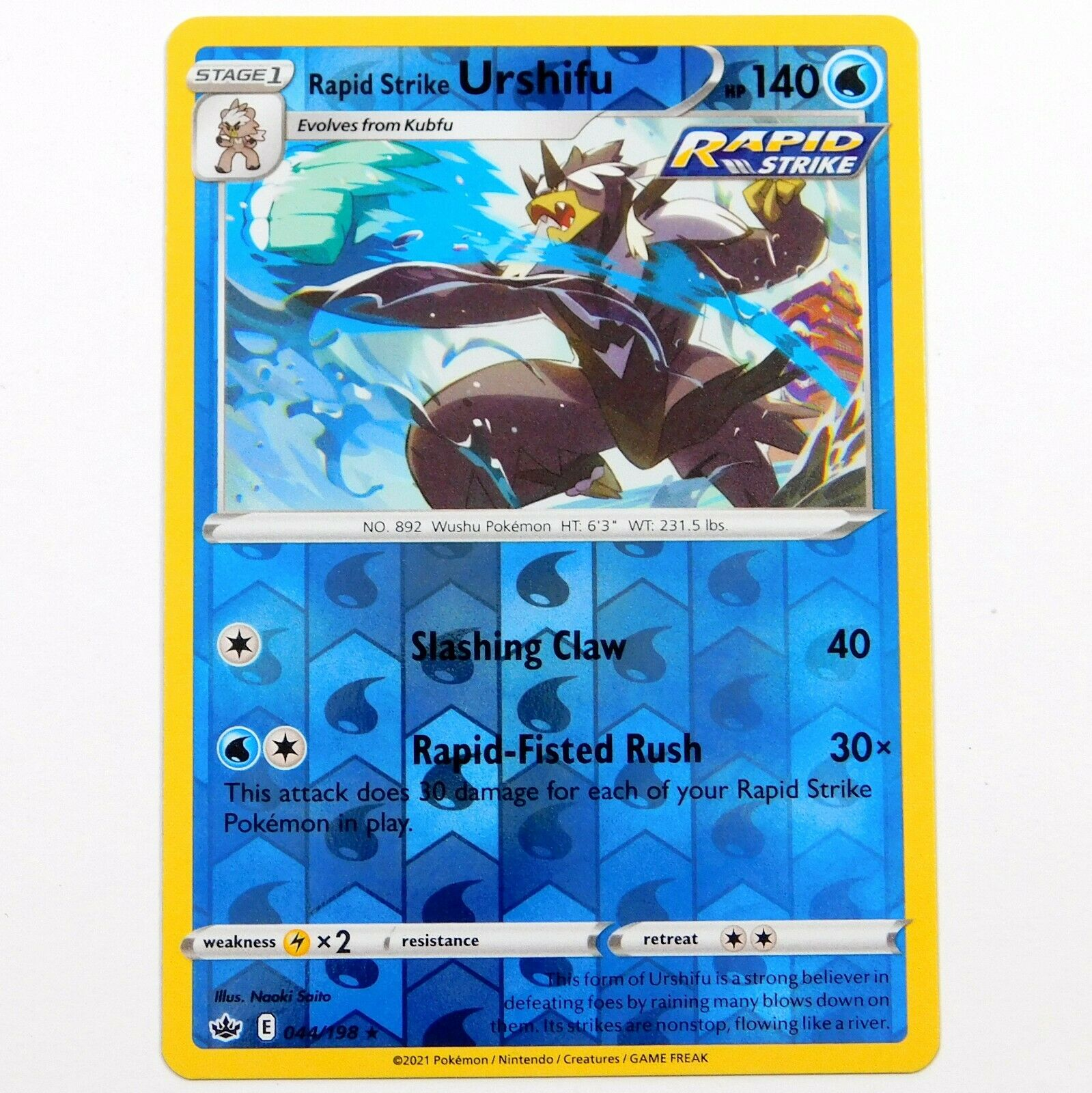 Rapid Strike Urshifu 044/198 Reverse Holo Rare Chilling Reign Pokemon Card NM/M