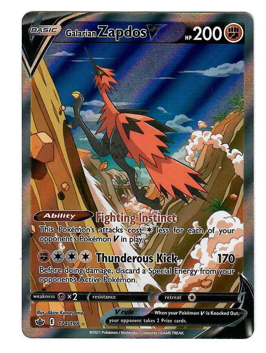 Galarian Zapdos V - 174/198 - Alternate Art Ultra Rare Chilling Reign Pokemon NM