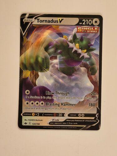 Tornadus V 124/198 Ultra Rare Single Strike Pokemon Chilling Reign - NM/M