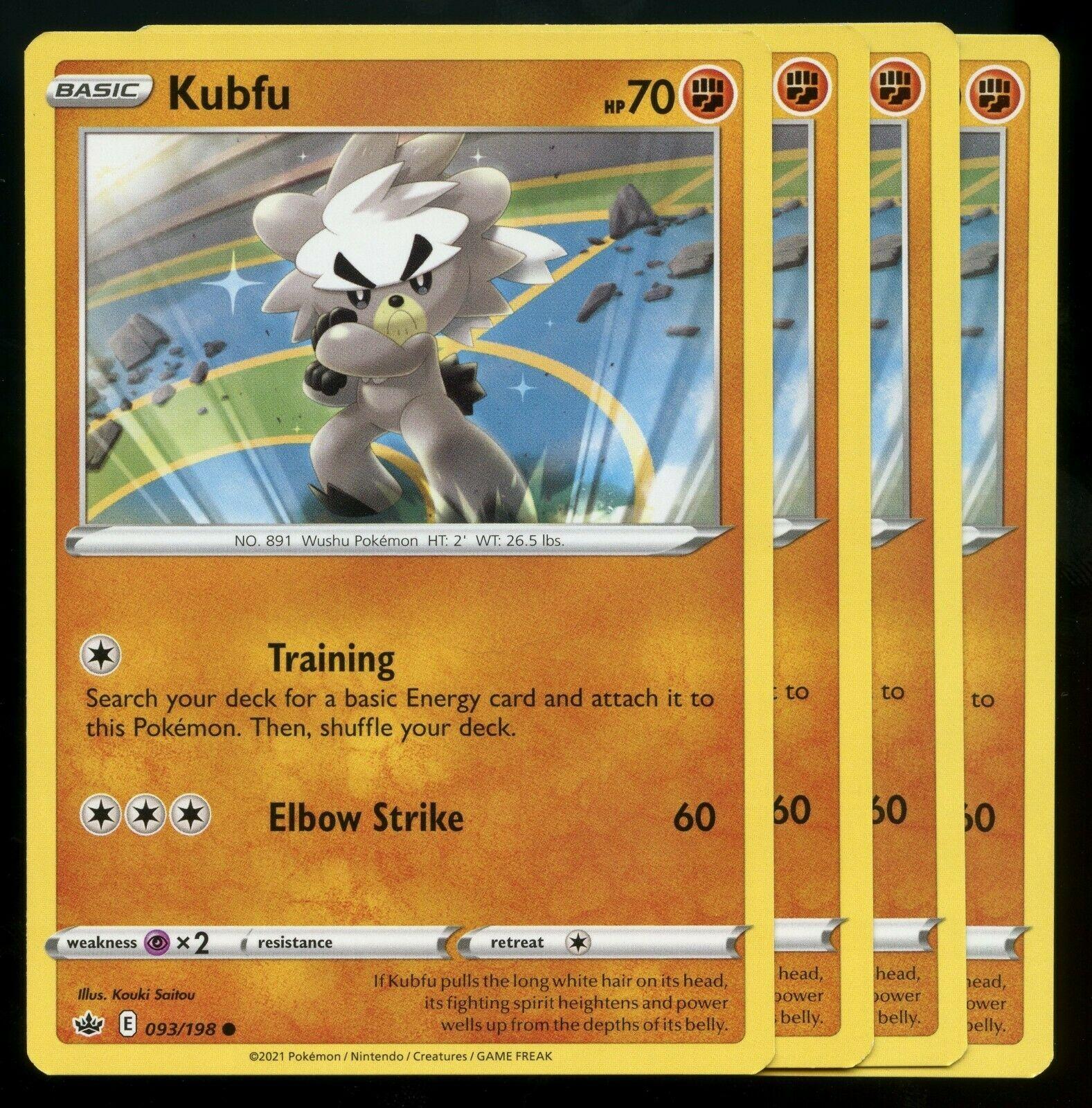 Pokemon Cards x4 Kubfu 093/198 Chilling Reign Playset NM