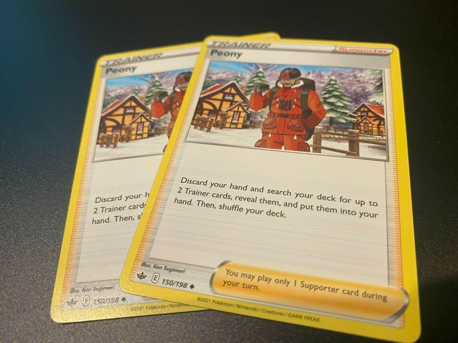 x2 Pokemon TCG Peony 150/198 Chilling Reign Mint, ready to ship