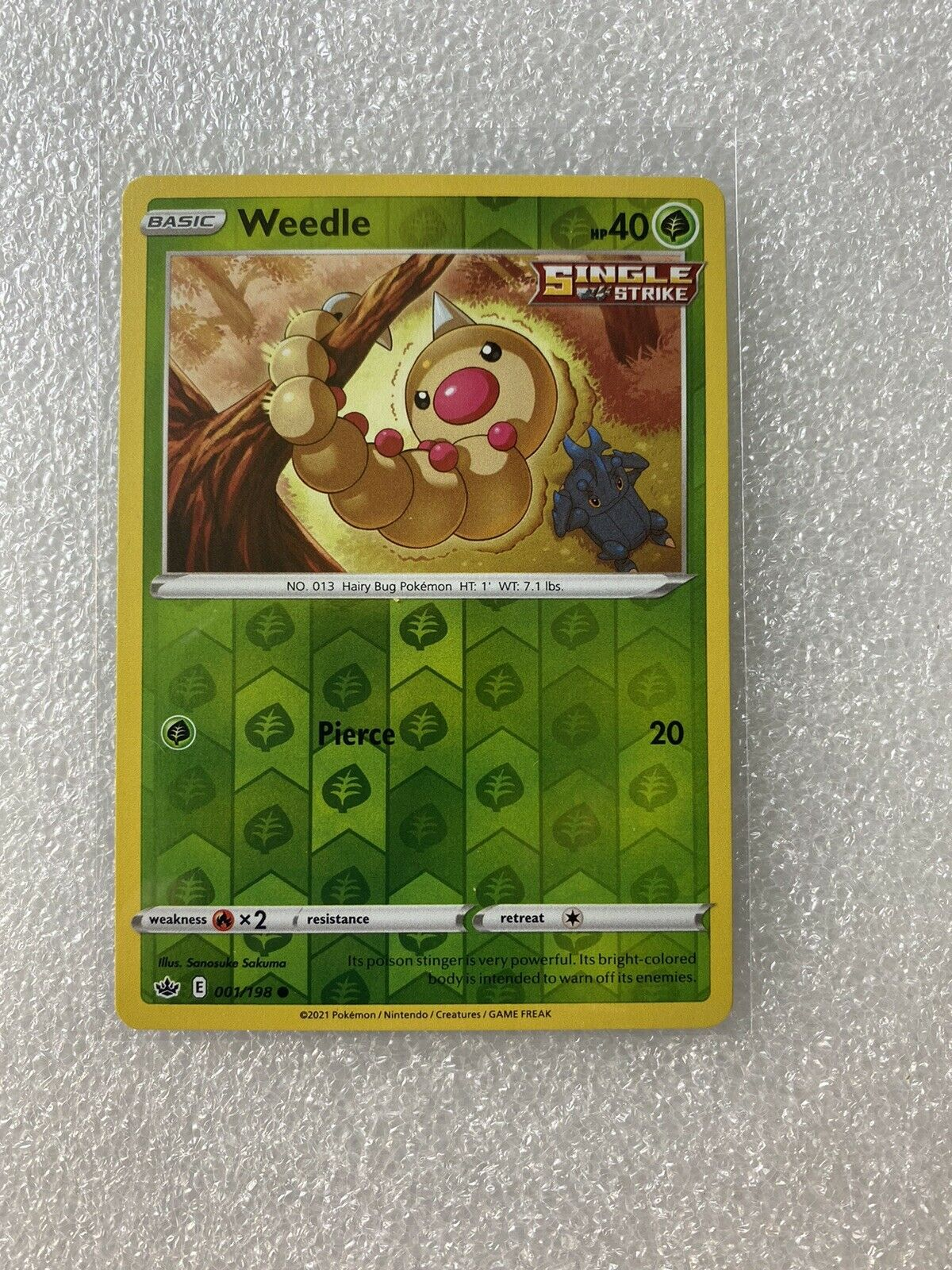 Weedle 001/198 Reverse Holo Chilling Reign Pokemon Card Mint Condition