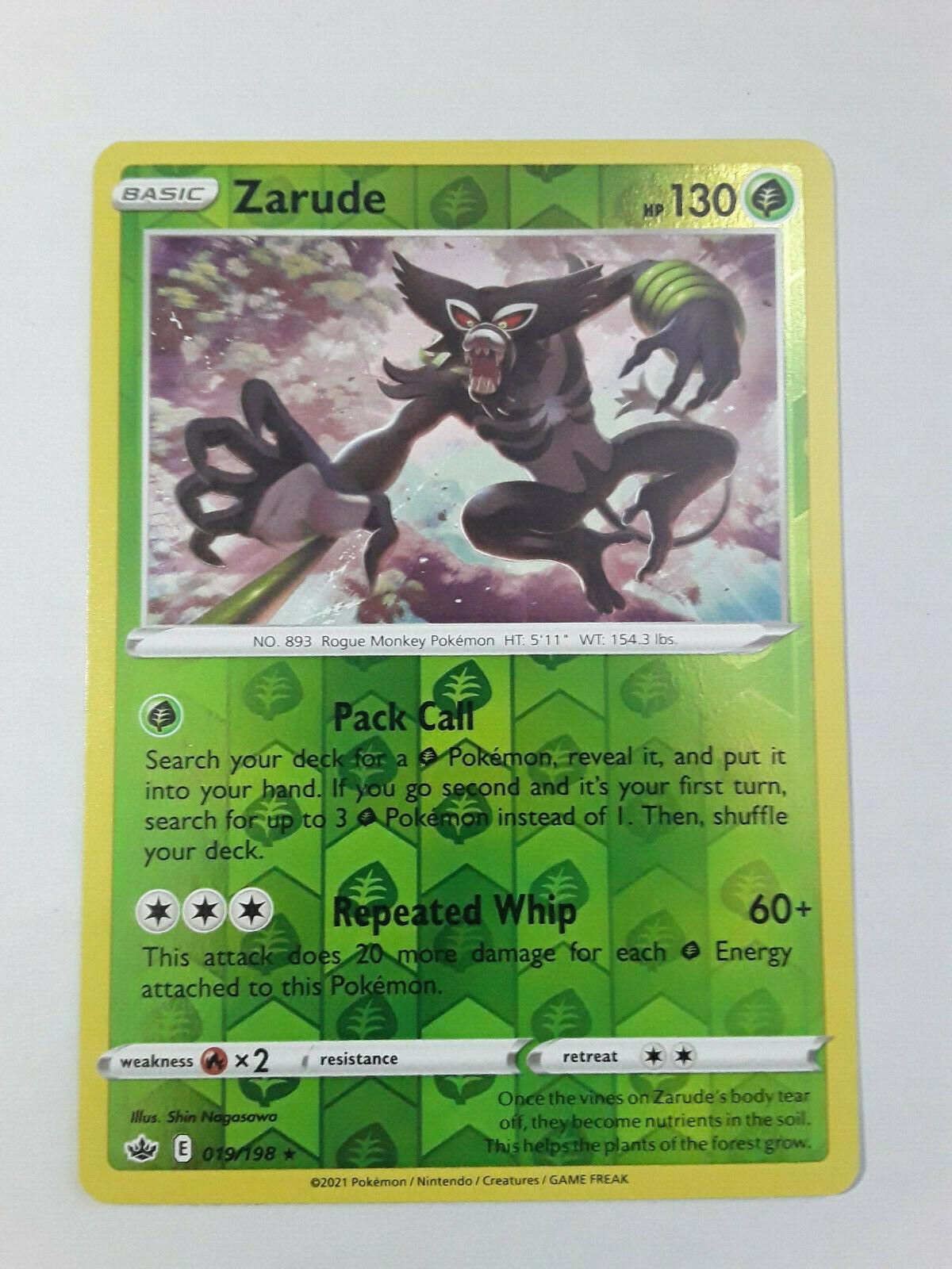 Pokemon Chilling Reign, Rev-Holo, Zarude - 019/198 Rare