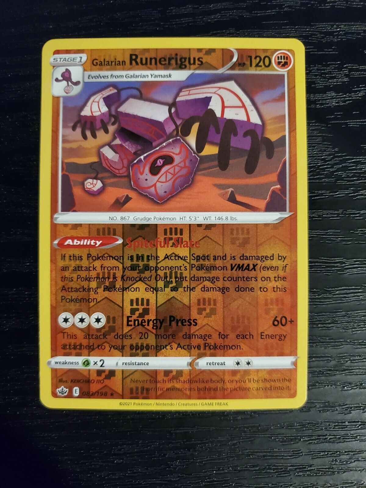 Galarian Runerigus 083/198 Chilling Reign Reverse Holo Rare Pokemon Card NM