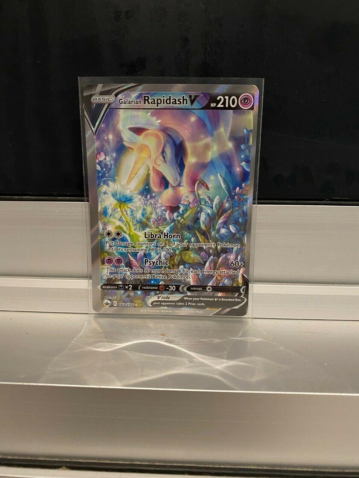 GALARIAN RAPIDASH V 168/198 FULL ART Pokemon Card *Chilling Reign* Mint cond.