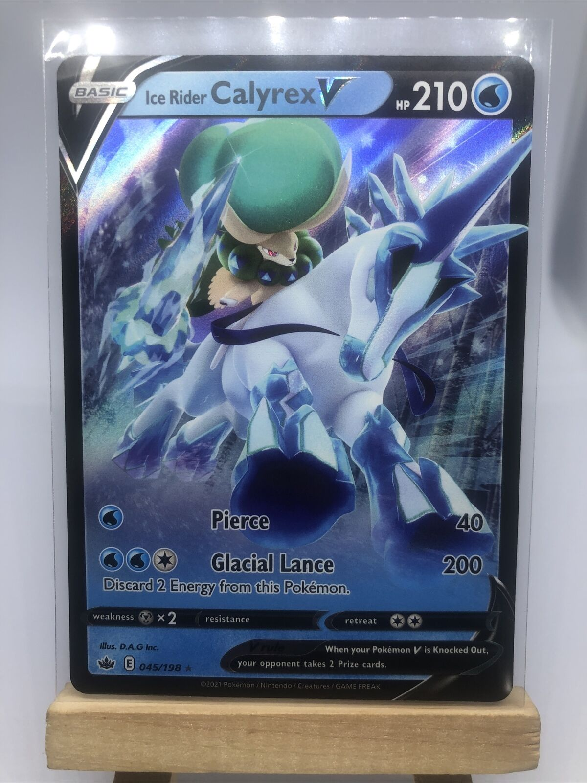Ice Rider Calyrex V Ultra Rare - 045/198 Pokemon TCG Chilling Reign NM