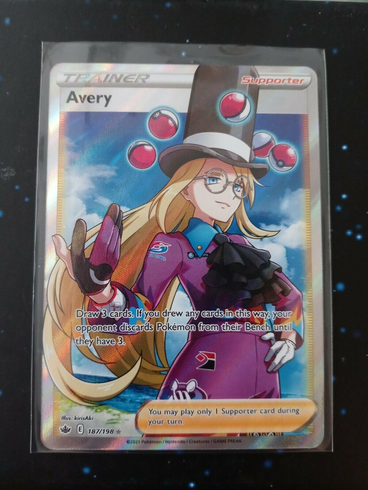 Avery 187/198 Full Art Trainer SWSH Pokemon Card Chilling Reign NM/M
