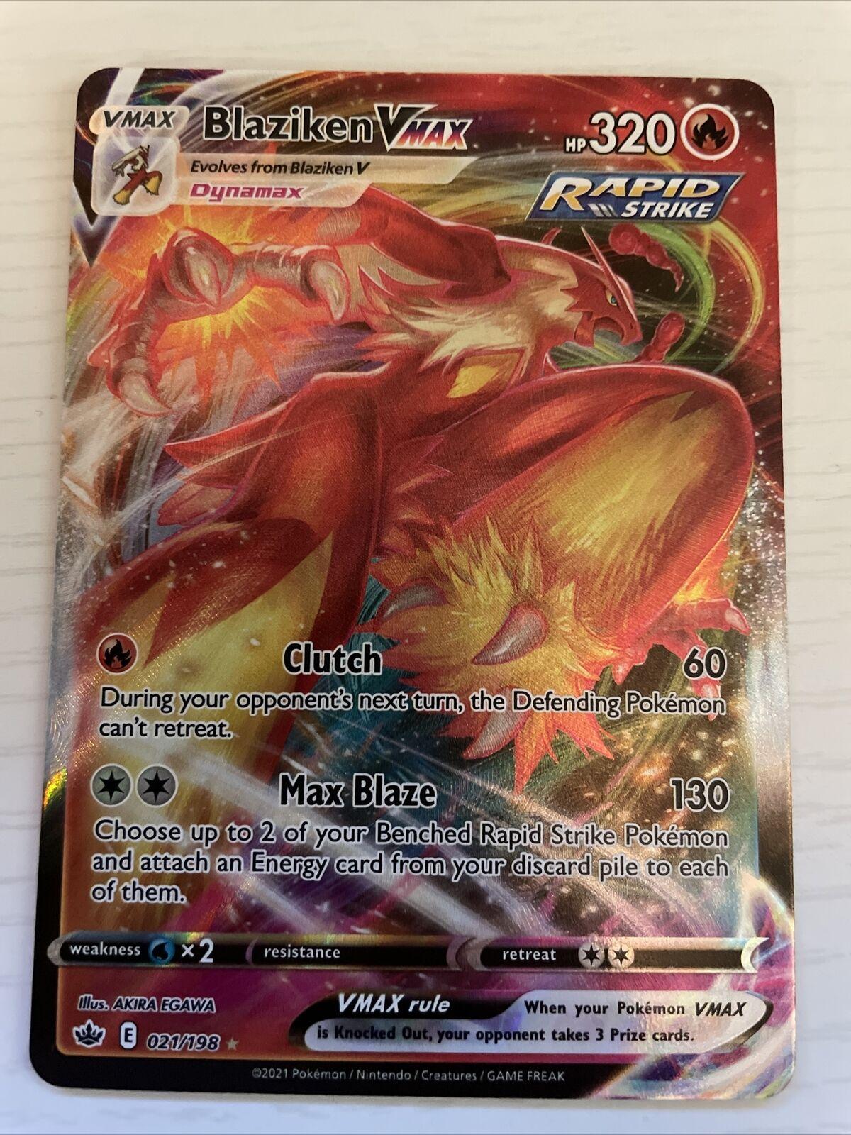 Pokémon Chilling Reign Full Art Rare Blaziken VMAX 021/198 NM Card