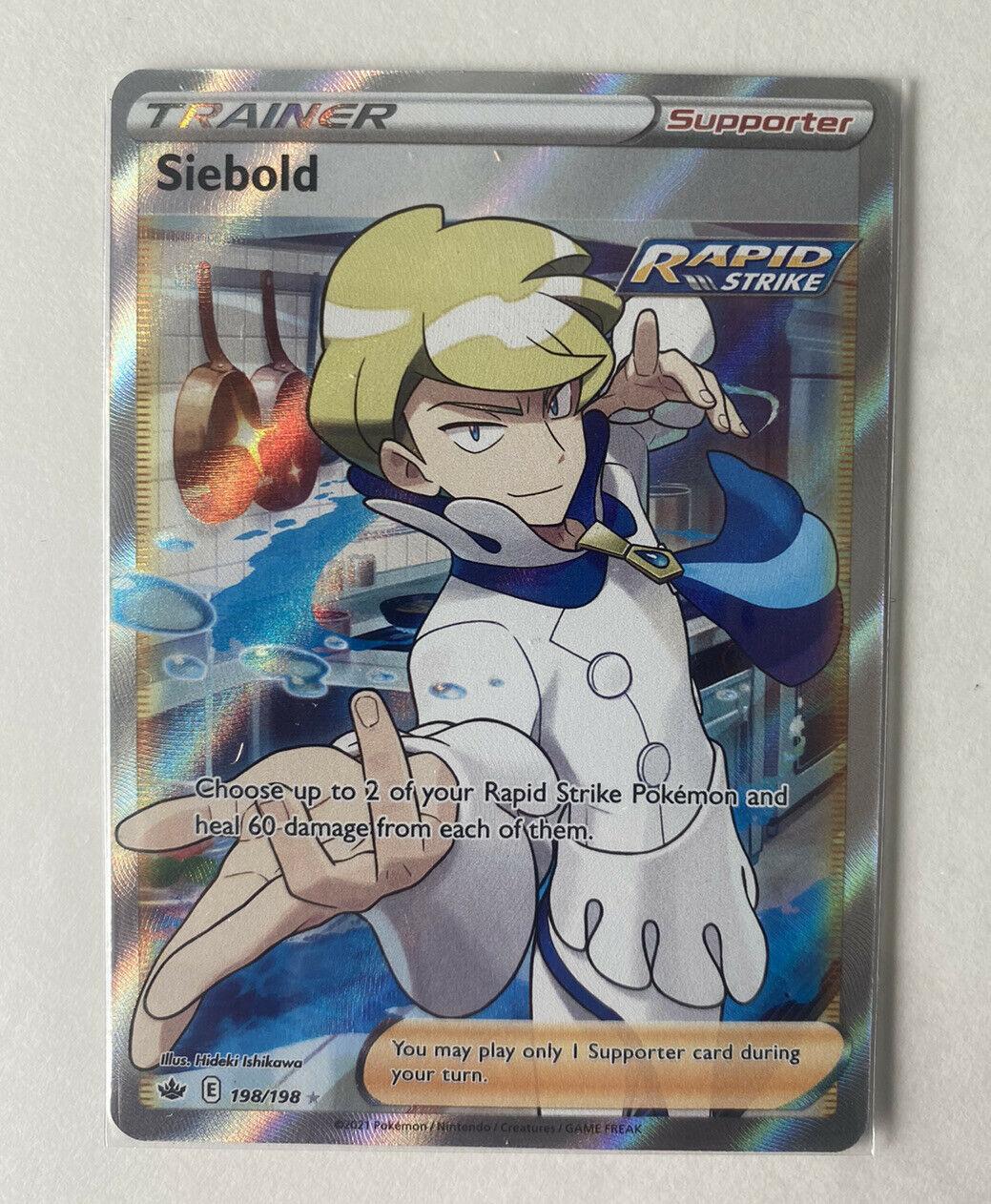 Siebold Full Art Trainer Chilling Reign Pokemon NM Condition 198/198 Fresh Pull