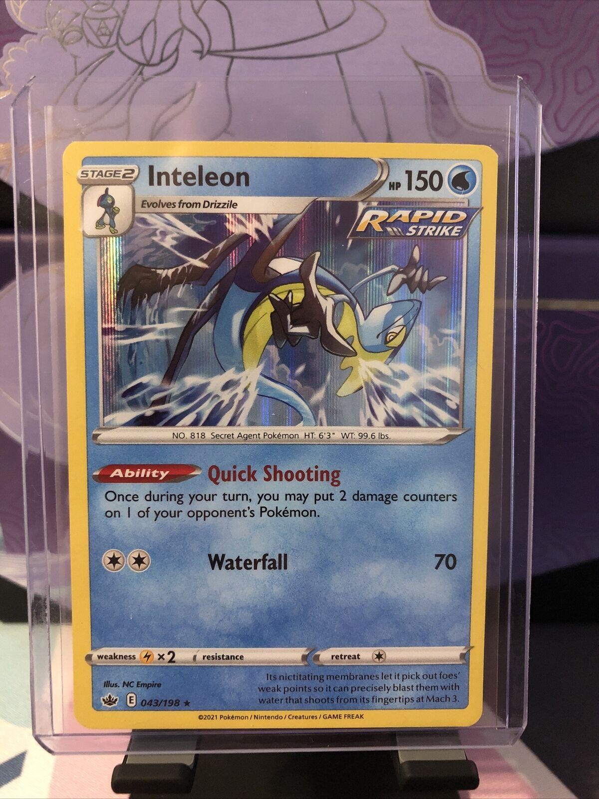 Pokemon TCG Chilling Reign Inteleon Rapid Strike Holo Rare Card # 043/198