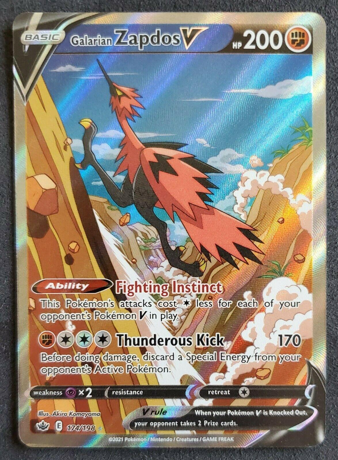 Pokémon Chilling Reign: Galarian Zapdos V 174/198, Alternate Art, NM