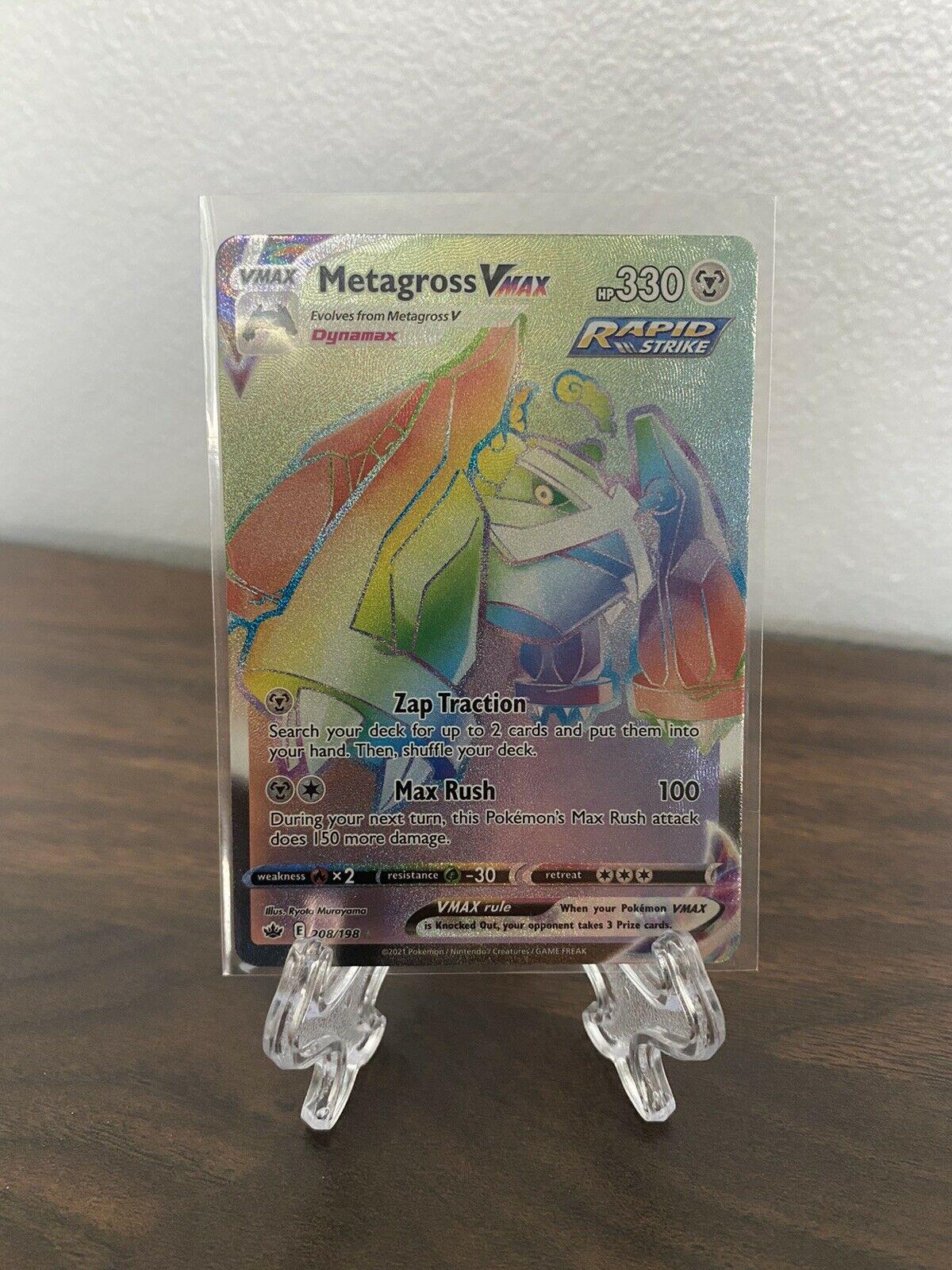 Metagross VMAX Chilling Reign 208/198 Rainbow Secret Rare Pokémon Card NM/M - Image 1