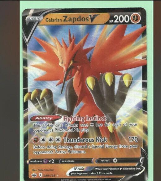 Pokemon Chilling Reign: Galarian Zapdos V Full Art Rare 080/198