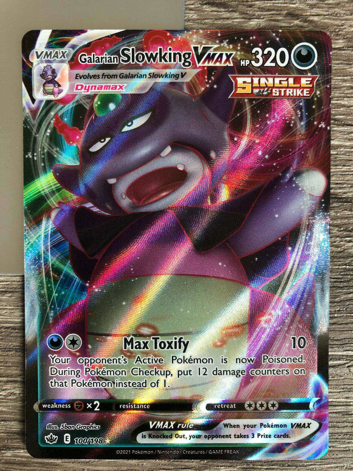 1x Galarian Slowking VMAX - 100/198 Holo Pokemon Card Chilling Reign NM