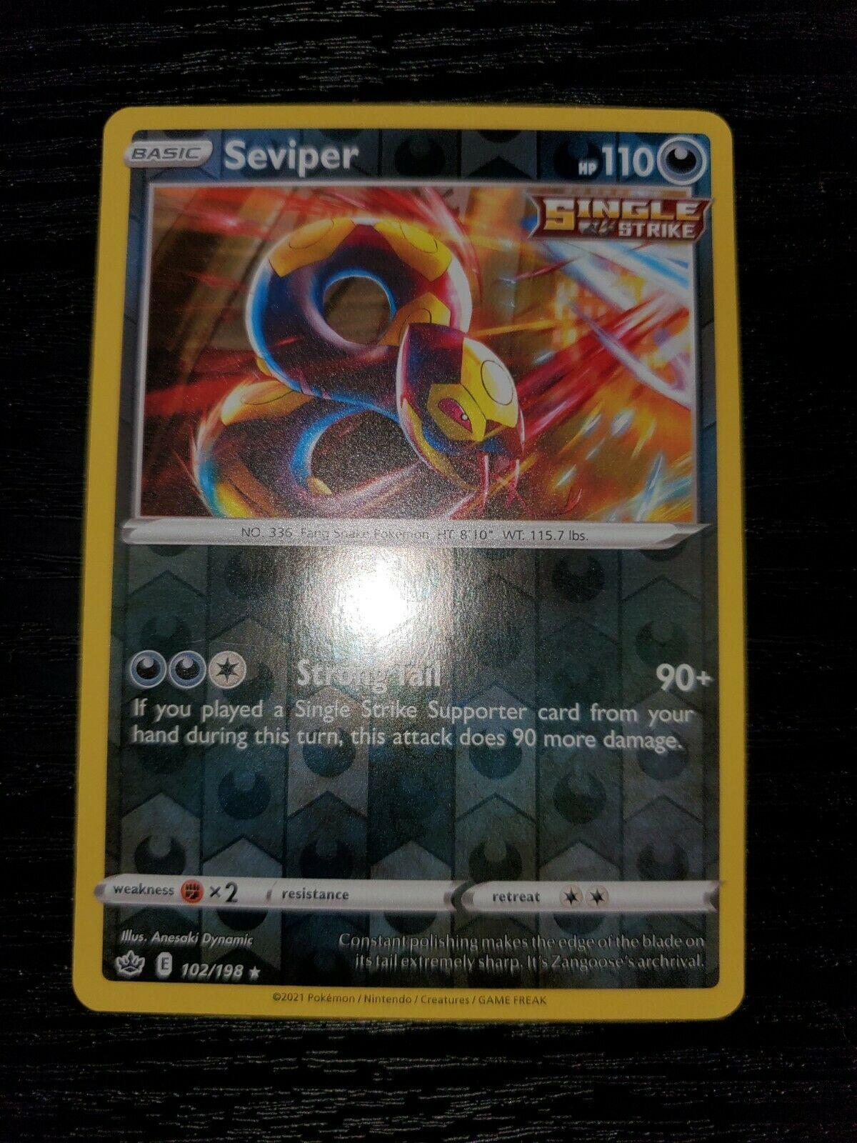 Seviper 102/198 Chilling Reign Reverse Holo Pokemon Card NM - Image 3
