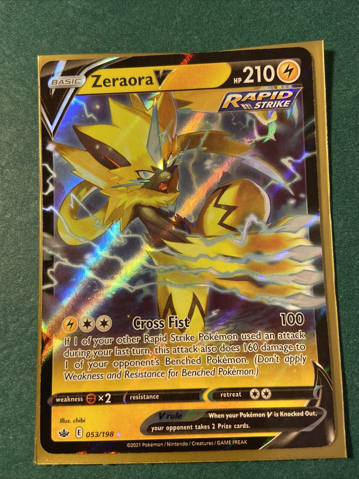 * NEW * ZERAORA V 053/198 53/198 Rapid Strike Chilling Reign Pokemon Card Mint