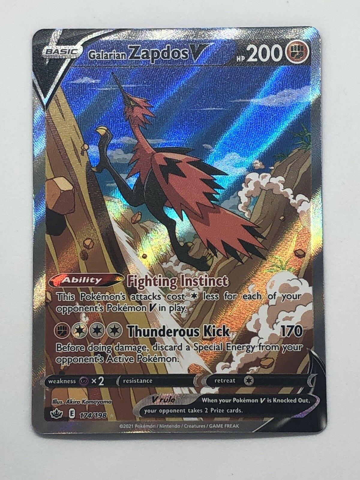 Pokemon Chilling Reign Galarian Zapdos V 174/198 Alternate Full Art Ultra Rare