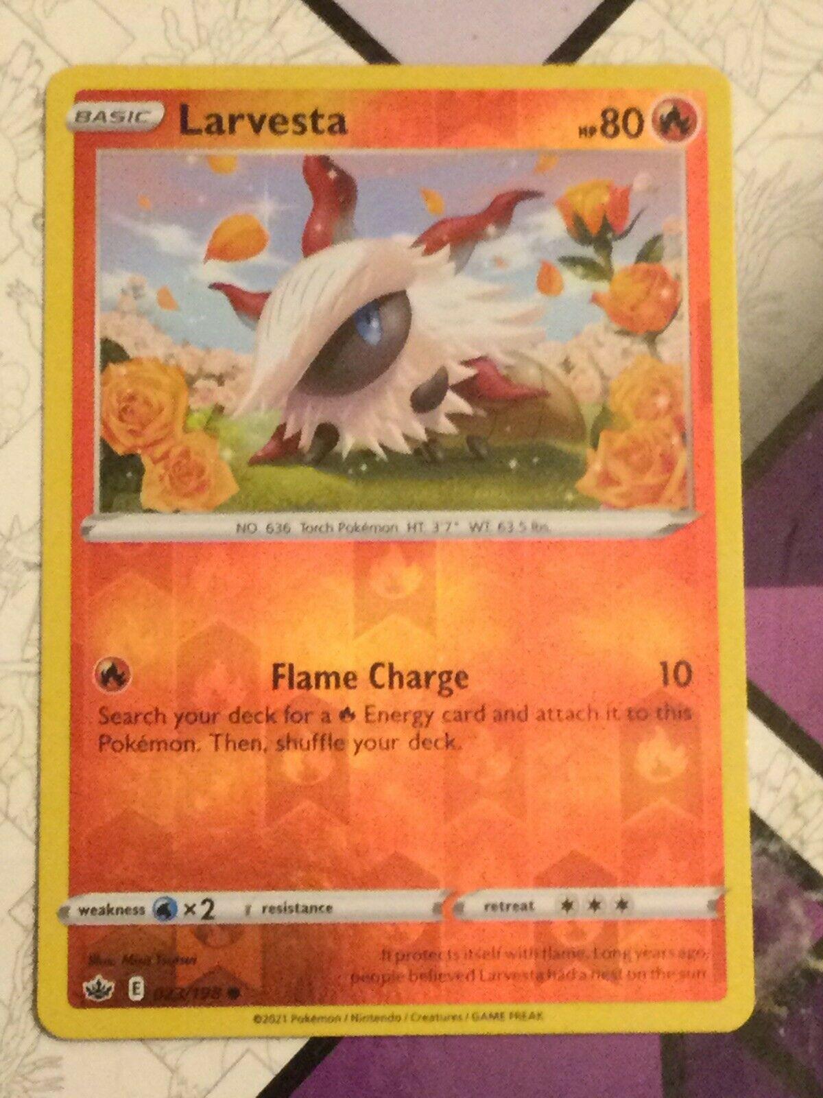 Pokemon - Larvesta 023/198 - Reverse Holo - Chilling Reign - NM/M - Image 2