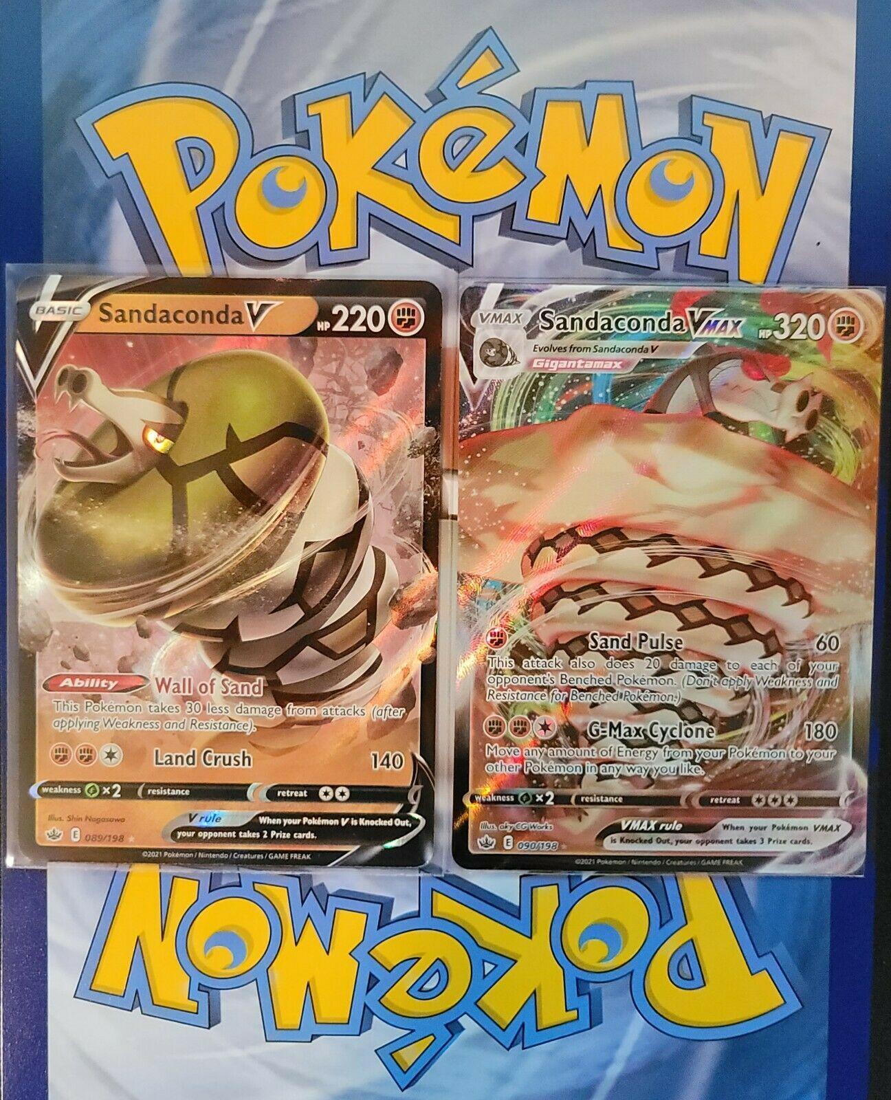 Pokemon-Sandaconda V & VMAX 089/198 & 090/198 -Chilling Reign- Ultra Rare- NM