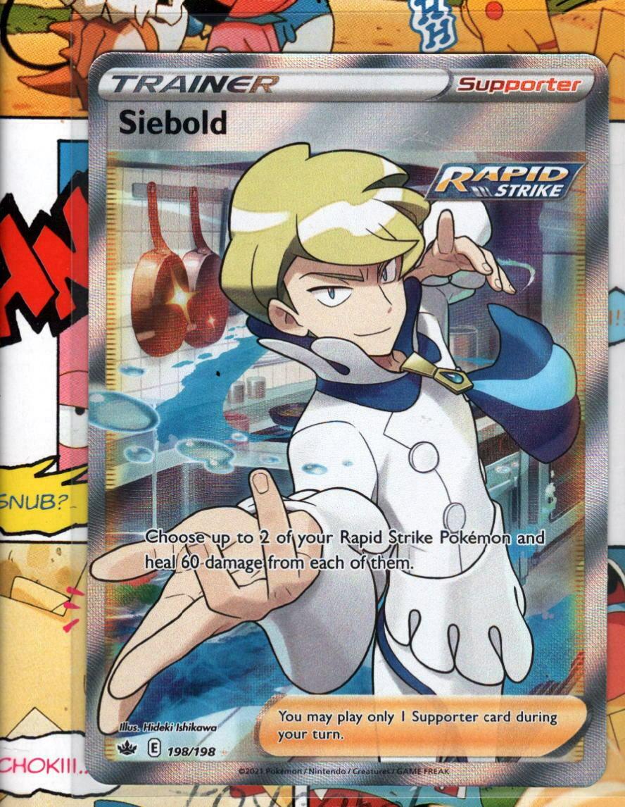 Pokemon TCG Siebold 198/198 Chilling Reign Full Art Trainer NM/M