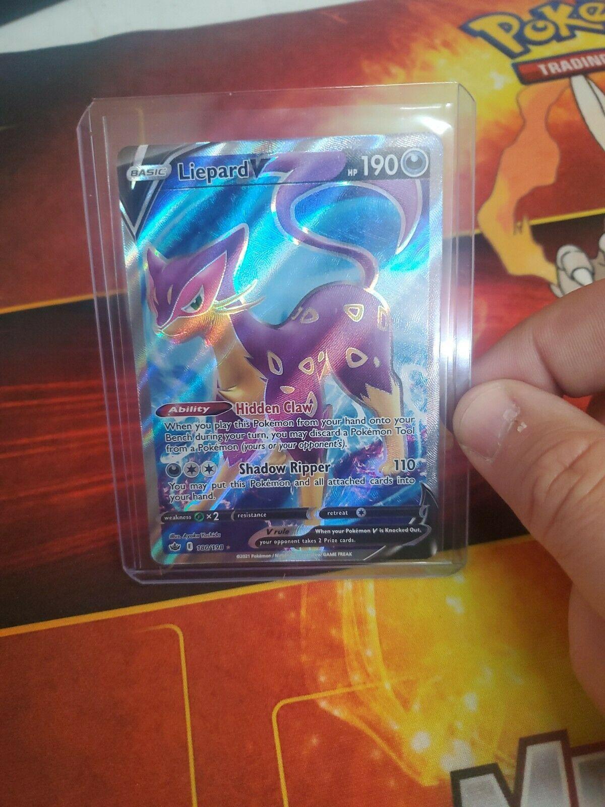 Pokemon - Liepard V 180/198 Chilling Reign Ultra Rare Full Art - Holo Card NM/M