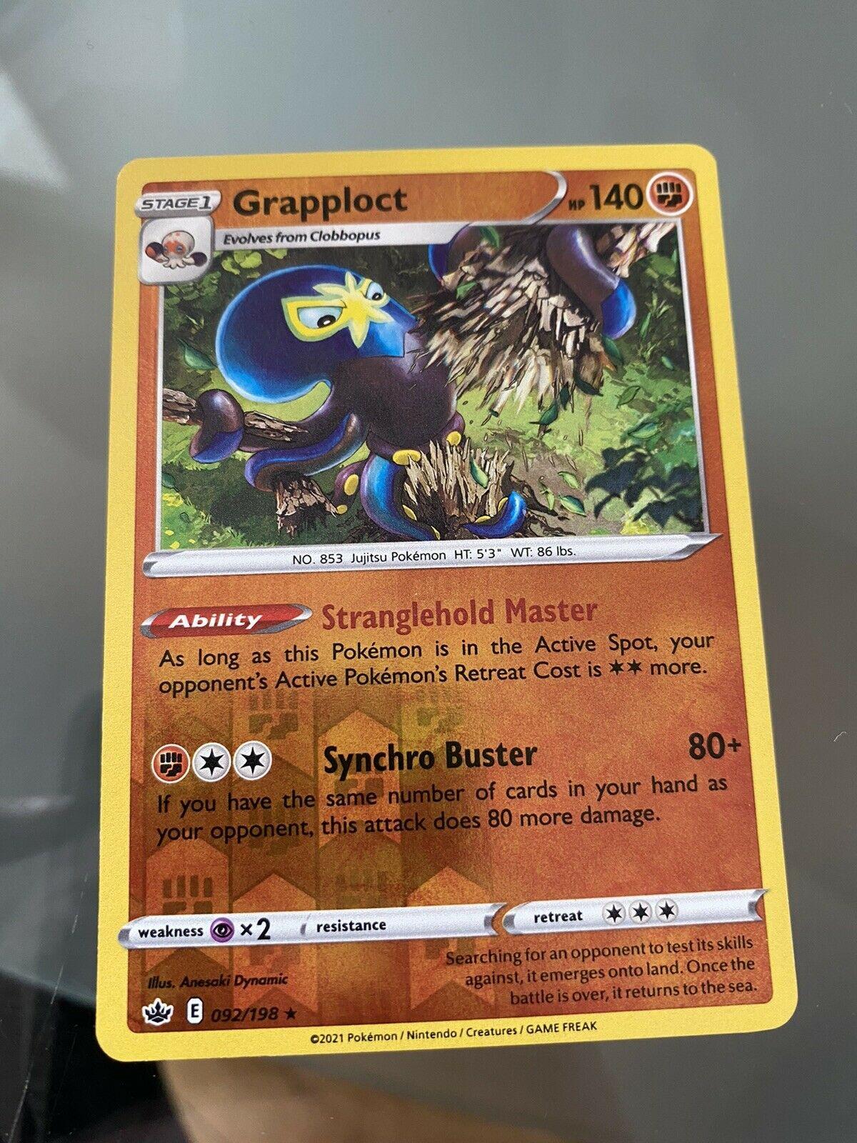 092/198 Grapploct | Rare Reverse Holo Pokemon Trading Card SWSH06 Chilling Reign