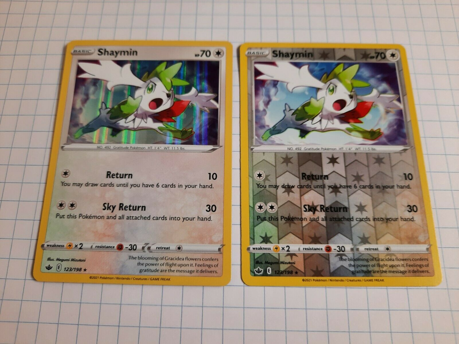 Chilling Reign Shaymin HOLO & REVERSE HOLO 123/198 Pokemon TCG Cards -Set Of 2