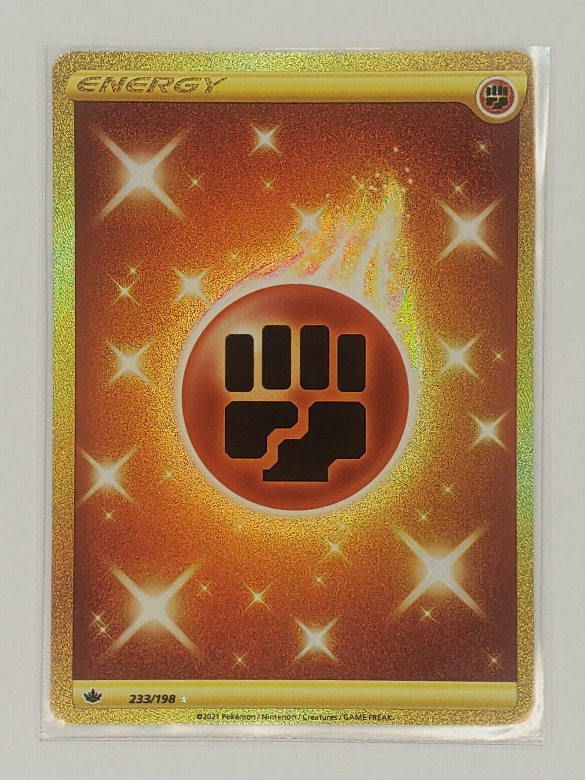 Pokemon Chilling Reign Fighting Energy 233/198 Secret Rare Gold