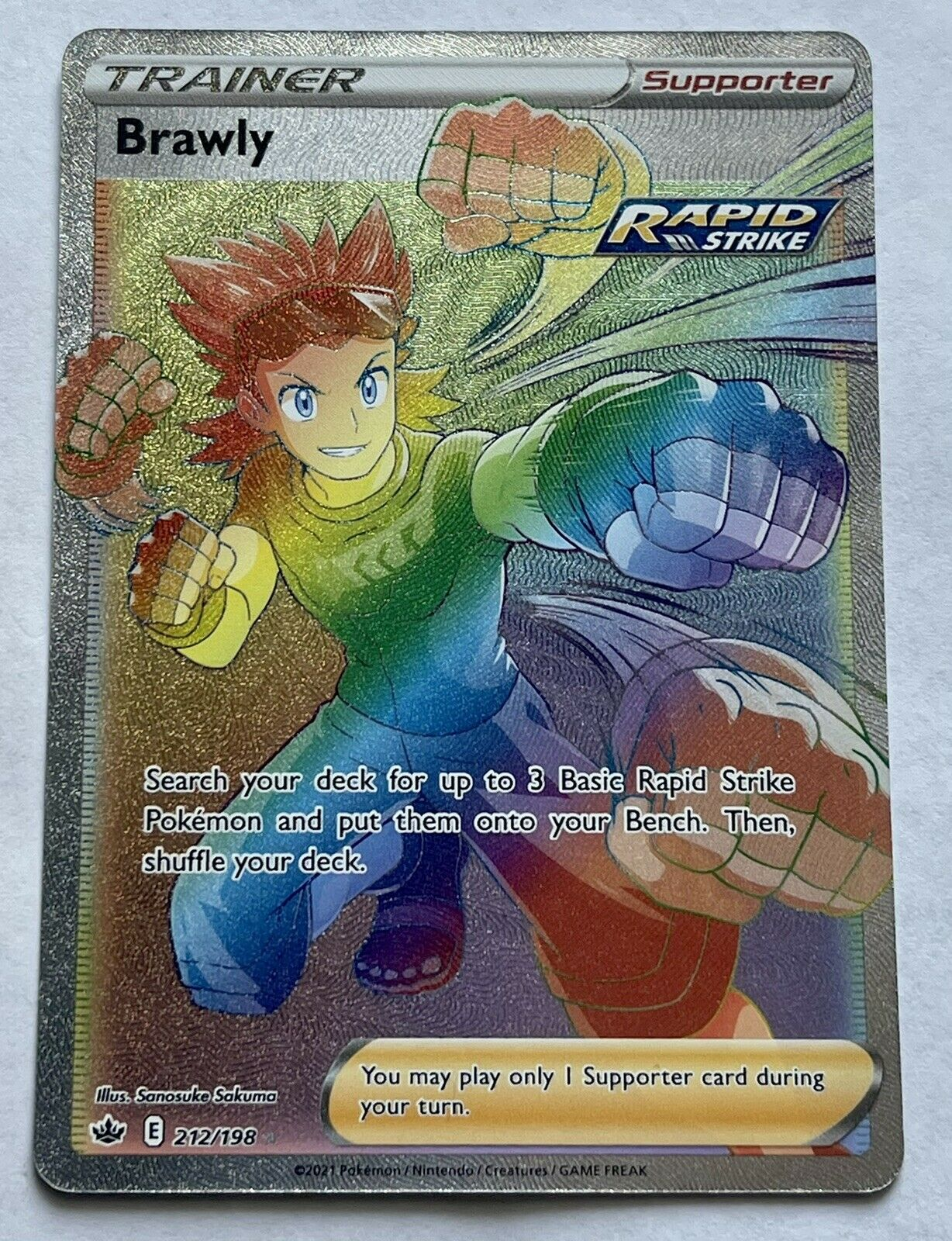Pokemon card Brawly Full Art Rainbow Rare 212/198- Chilling Reign - NM/M