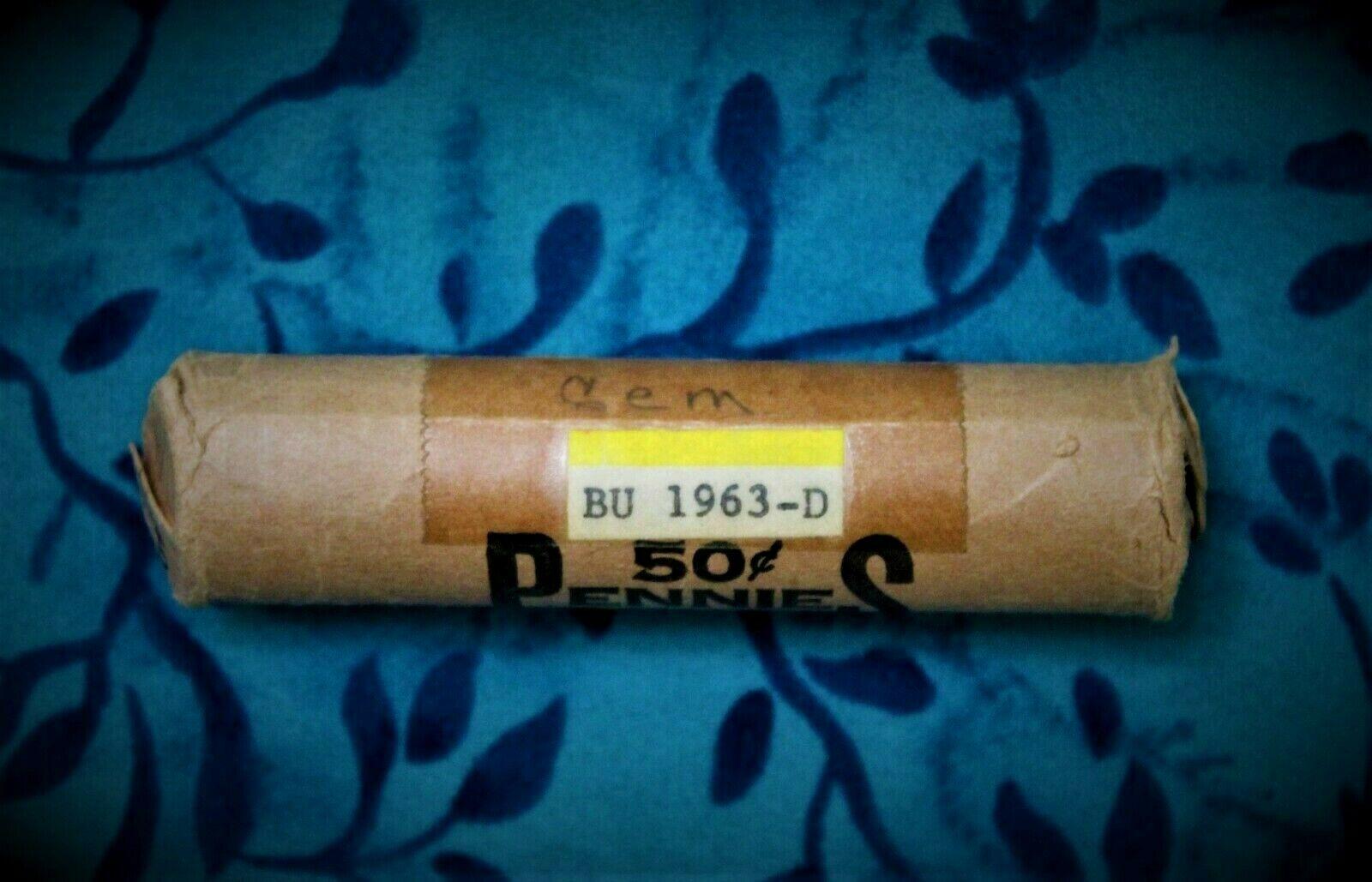 1963-D BU Lincoln Penny Roll--estate sale--MIS75 - Image 1