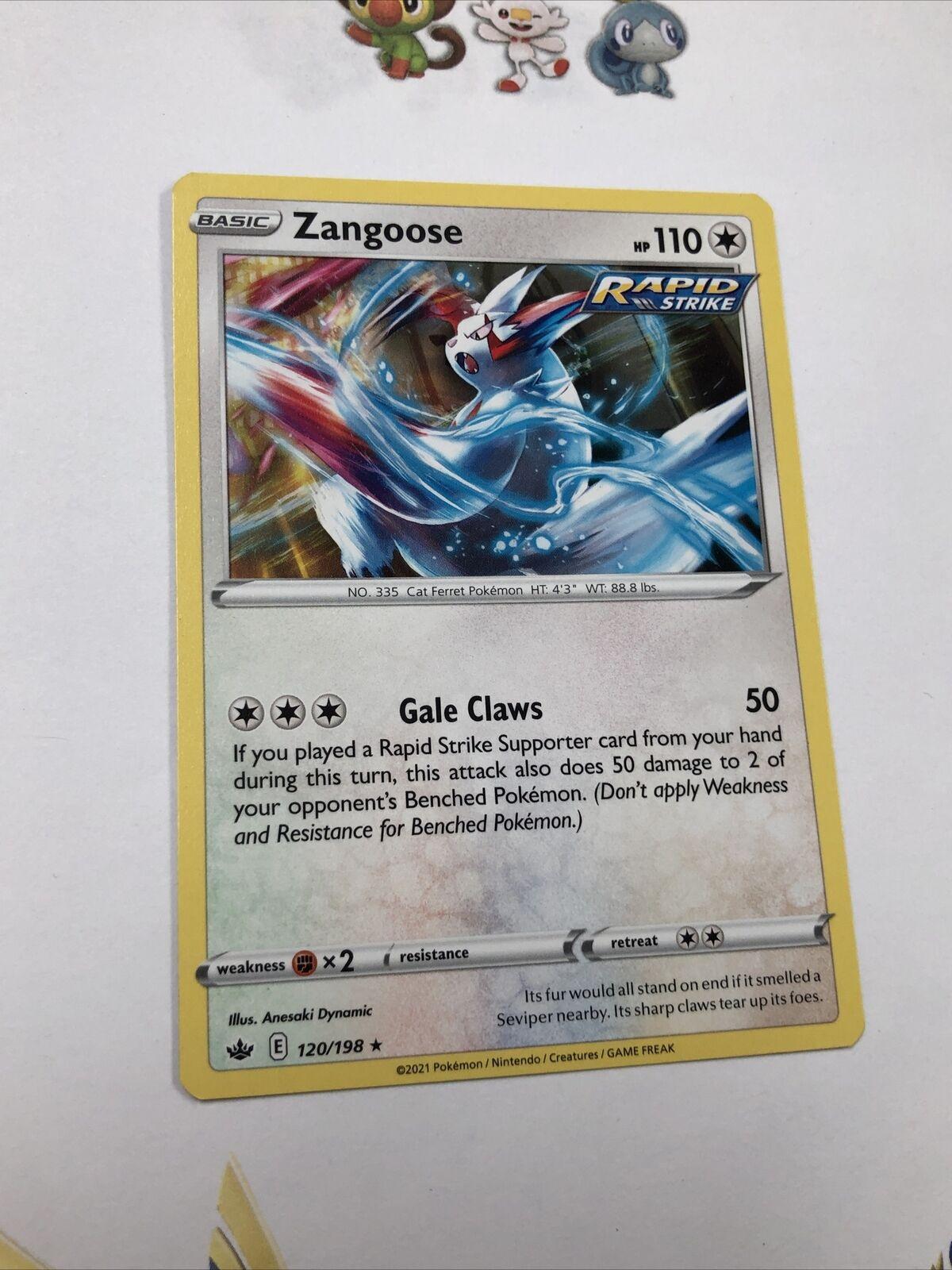 x1 Zangoose - 120/198 - Rare - Reverse Holo Pokemon SS06 Chilling Reign M/NM