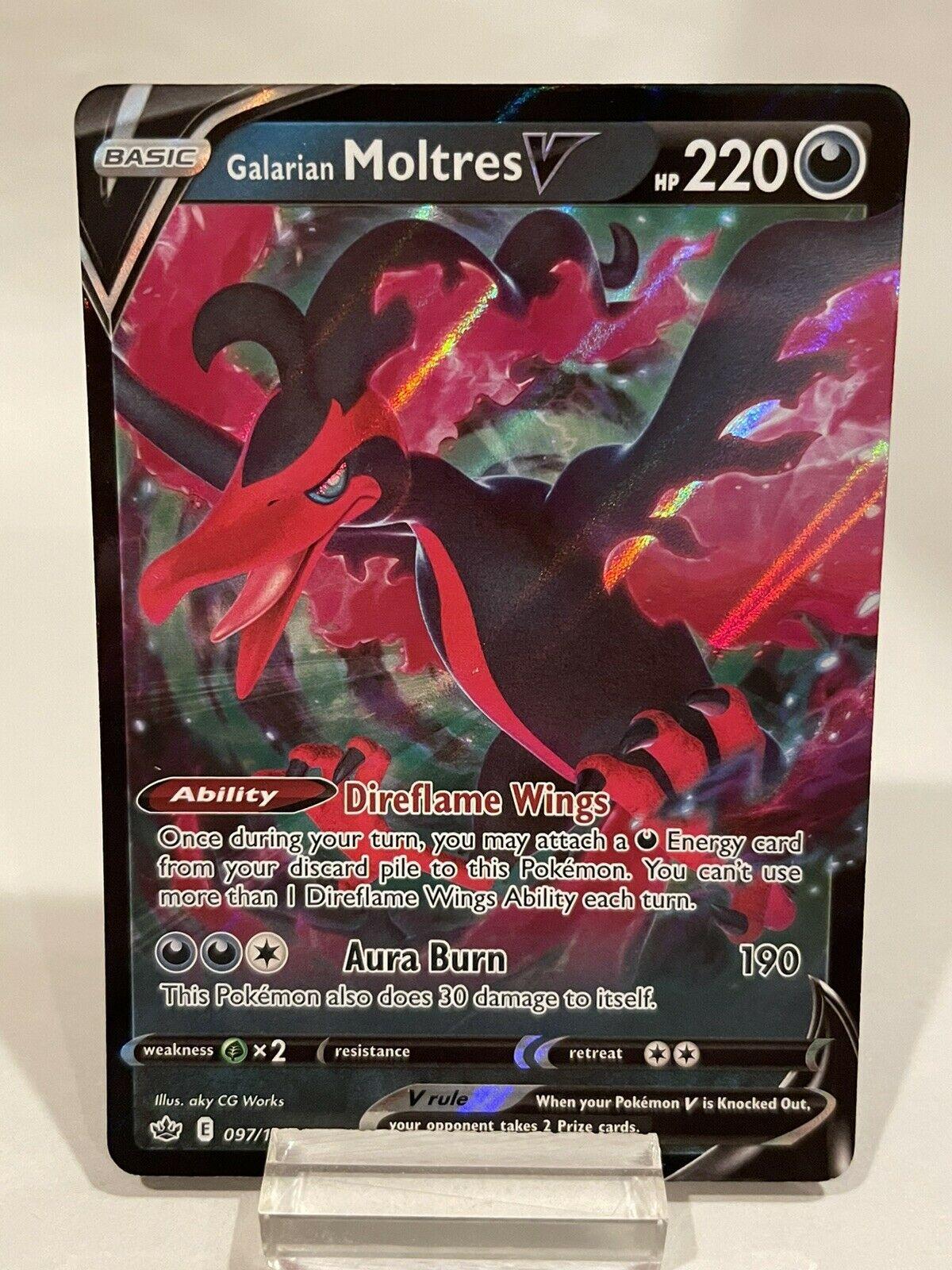 Galarian Moltres V 097/198 Ultra Rare Holo Pokémon Chilling Reign LP See Desc.
