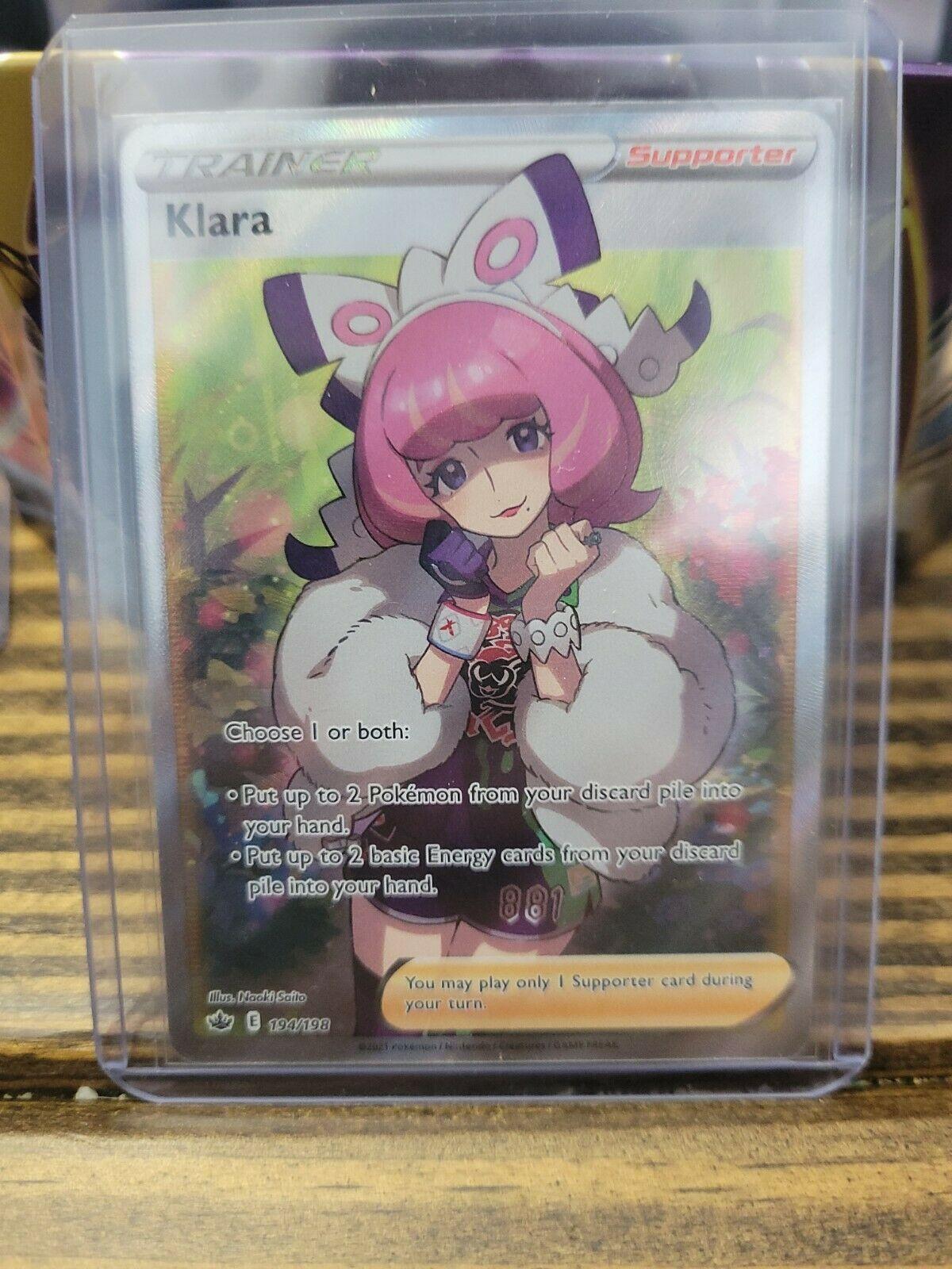 Klara 194/198 Full Art Secret Rare Trainer Chilling Reign Pokemon TCG NM/Mint