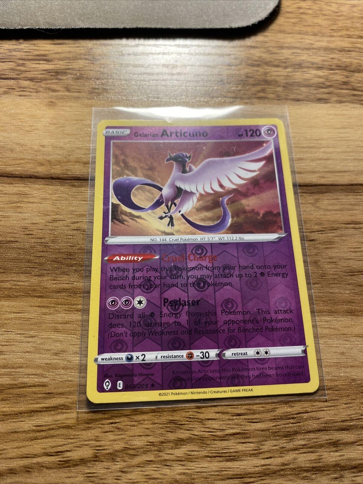 Galarian Articuno 063/203 - Evolving Skies - Reverse Holo Pokemon Card - NM