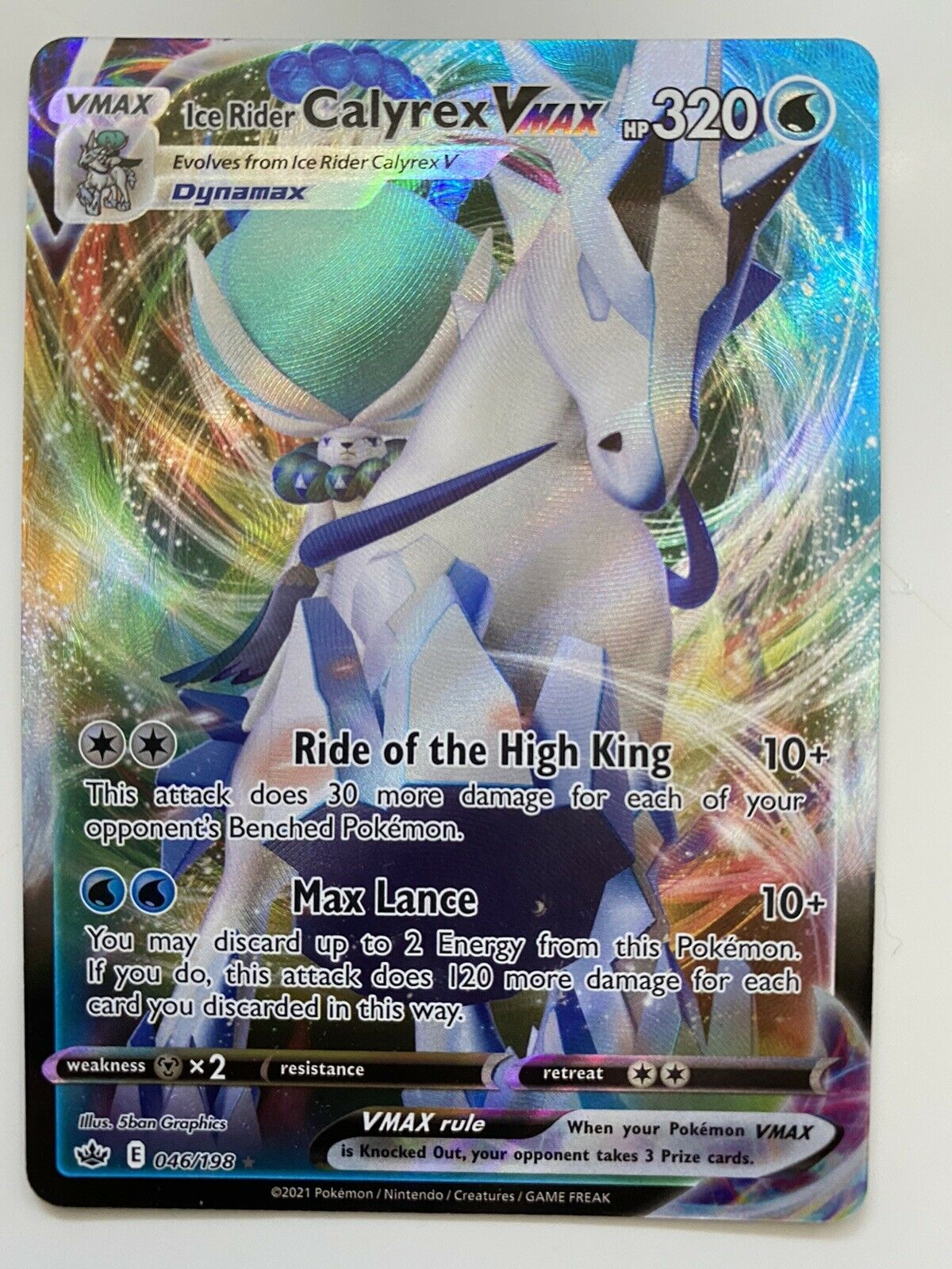 Ice Rider Calyrex VMAX Full Art Holo Chilling Reign 046/198