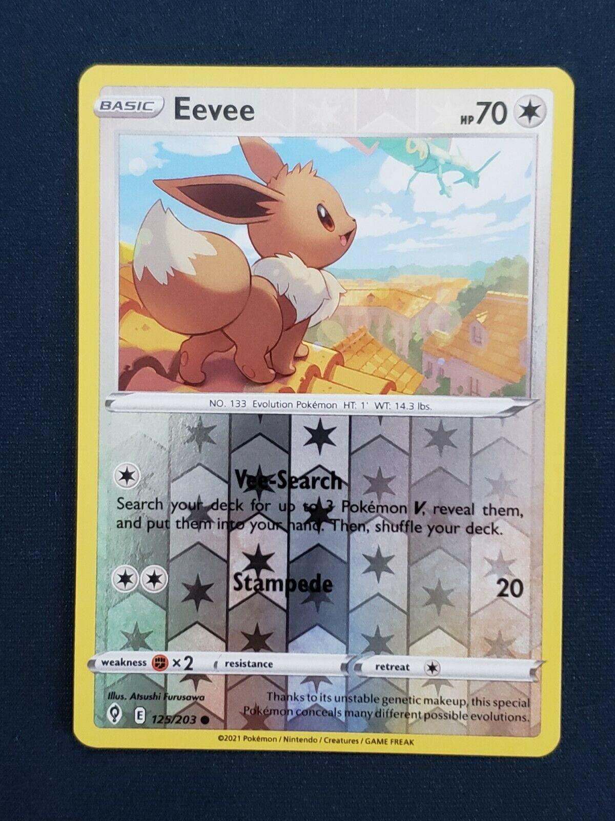 Pokemon Evolving Skies 125/203 Eevee Reverse Holo Common Near Mint NM