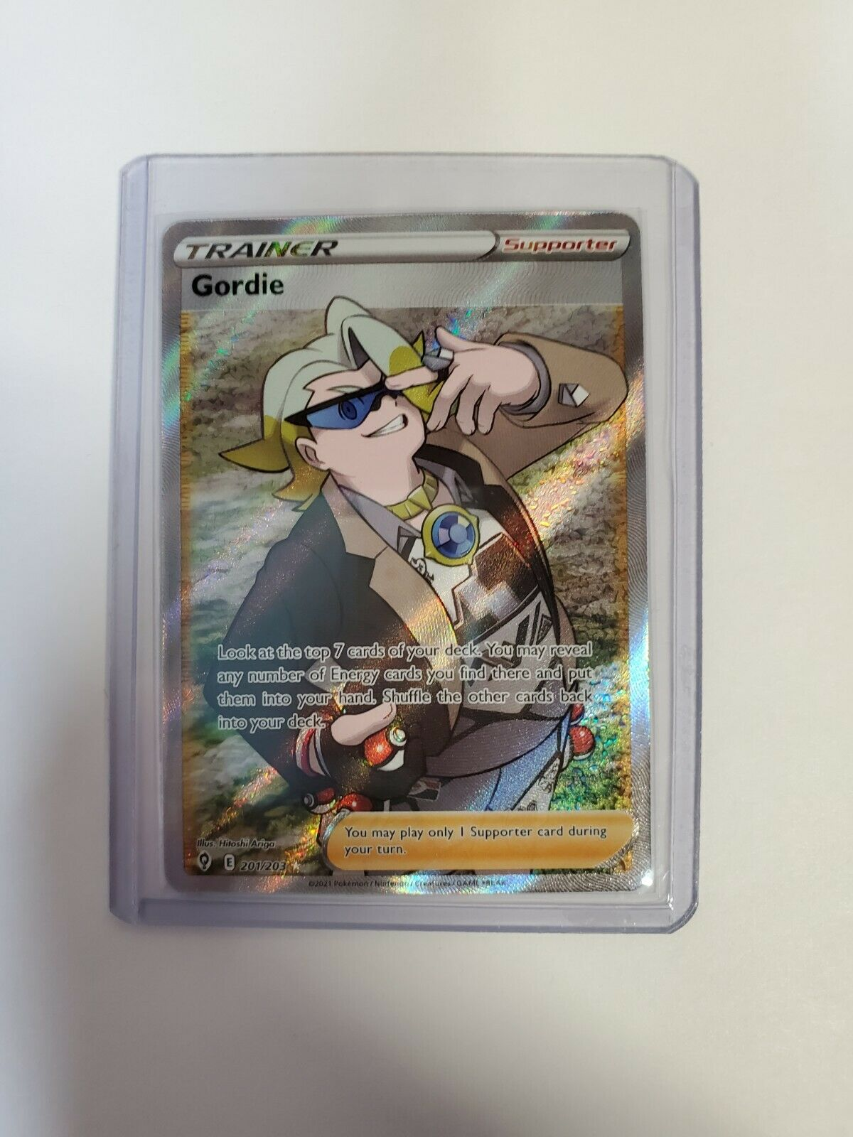 Gordie Full Art Trainer 201/203 Evolving Skies Pokemon Card Holo 2021 NM