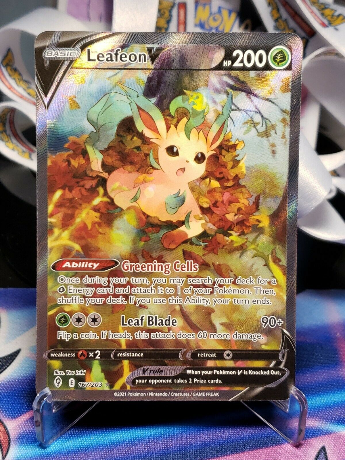 Leafeon V Alt Art Evolving Skies NM 167/203 Pokémon TCG Mint