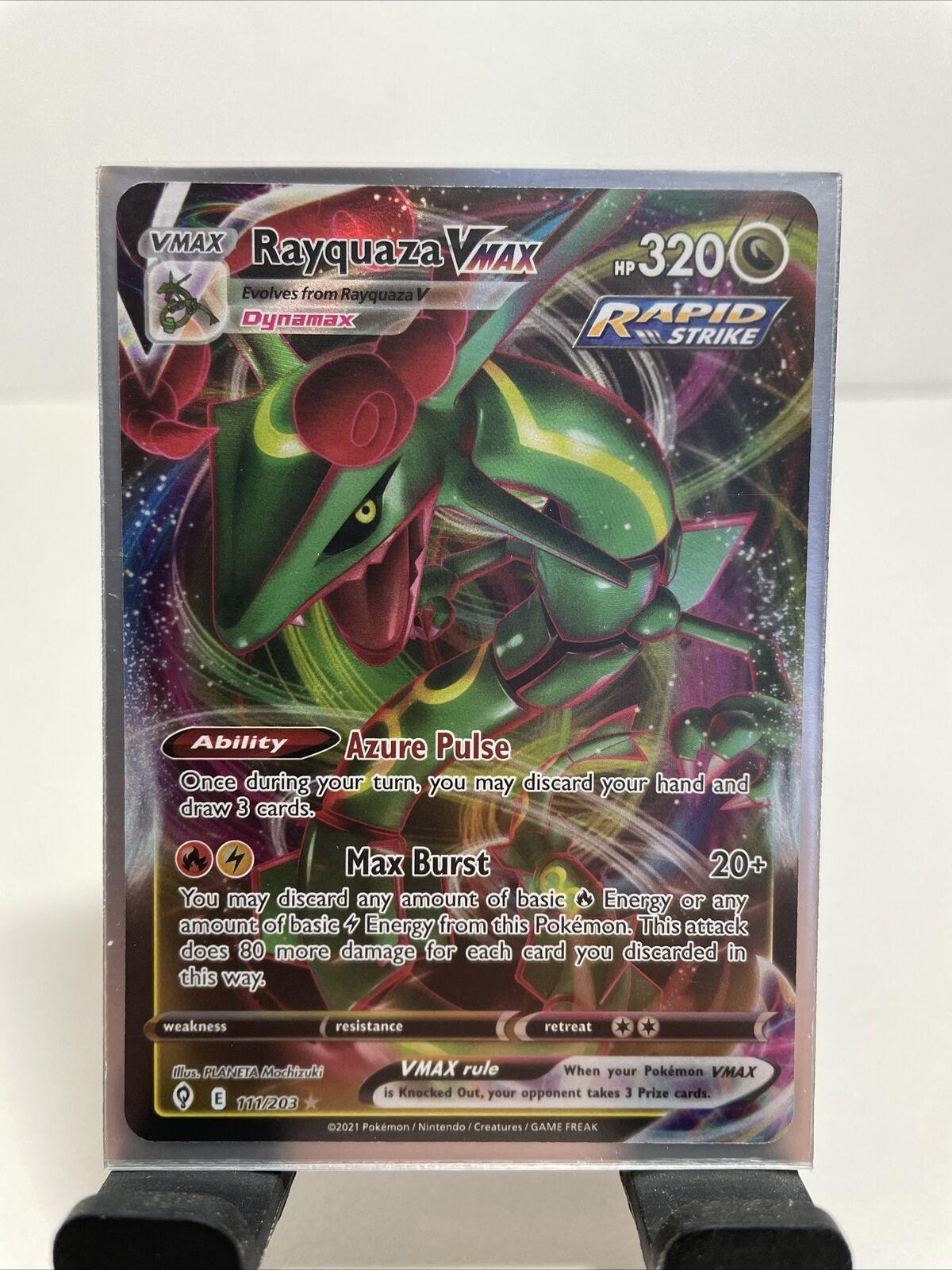 Pokémon Evolving Skies Rayquaza Vmax Full Art 111/203 NM/M Fresh Pull