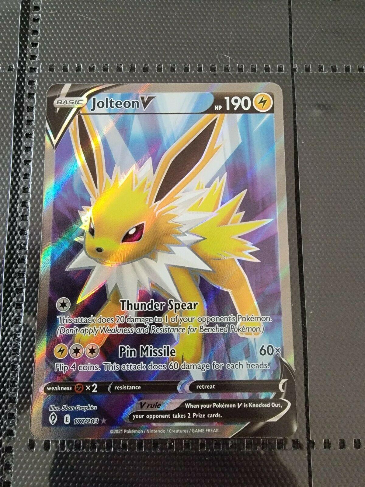 Pokémon JOLTEON V 177/203 Evolving Skies FULL ART ULTRA RARE HOLO - NM/M