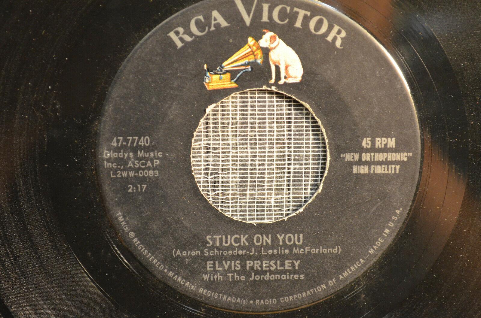 """Elvis Presley- 1960 Rock """"Stuck On You"""" """"Fame & Fortune"""" 45 - NICE!"""