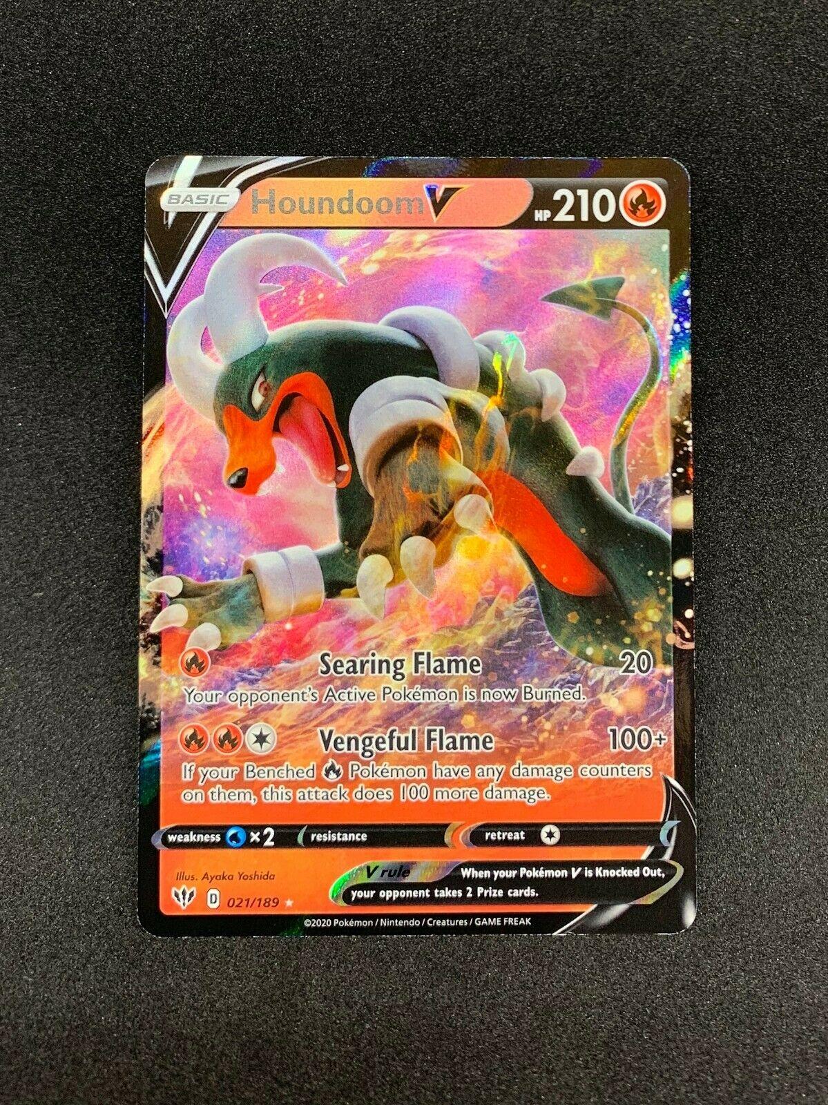 Pokemon Houndoom V 021//189 Ultra Rare Darkness Ablaze IN-HAND Near Mint NM